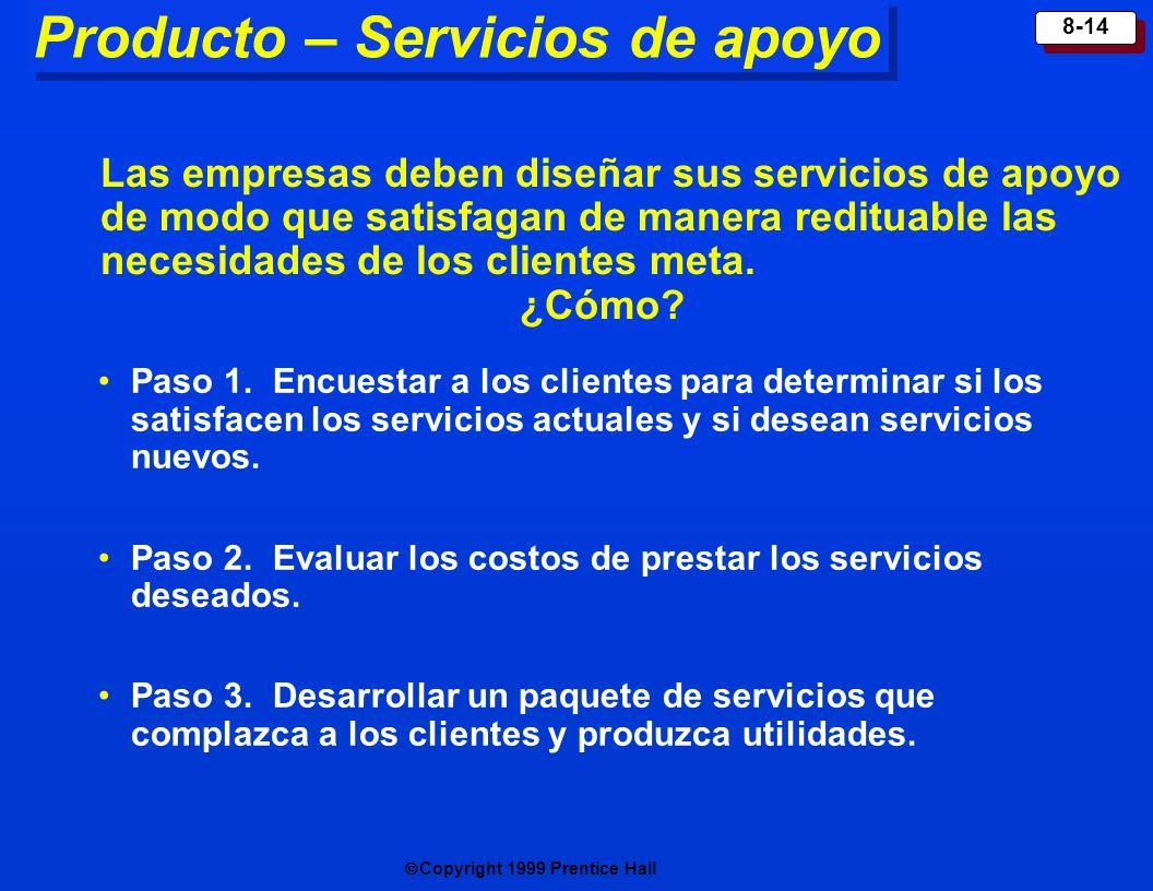 Copyright 1999 Prentice Hall 8-14 Producto – Servicios de apoyo Paso 1. Encuestar a los clientes para determinar si los satisfacen los servicios actua