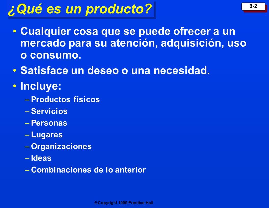 Copyright 1999 Prentice Hall 8-3 Niveles de producto Marca Nivel de calidad P resentación D iseño F unciones Entrega y crédito Instal ación Garantía Servicio después de la venta Beneficio o servicio central Producto real Producto central Producto aumentado