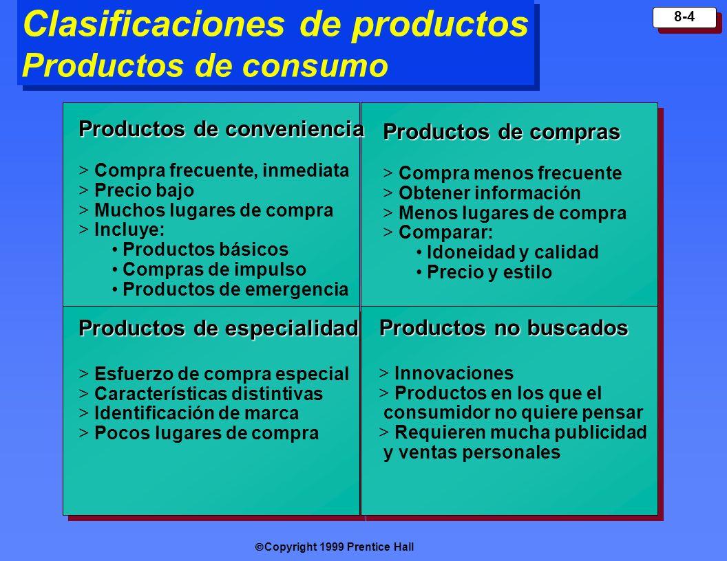 Copyright 1999 Prentice Hall 8-4 Clasificaciones de productos Productos de consumo Productos de compras > Compra menos frecuente > Obtener información