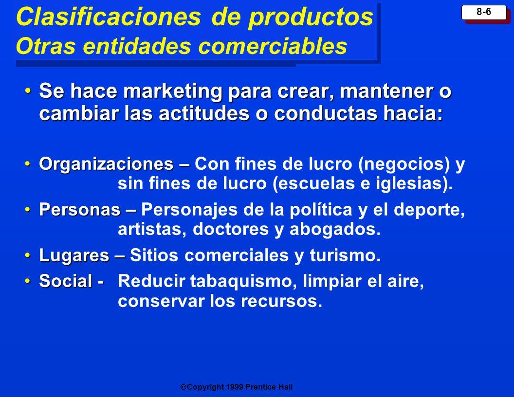 Copyright 1999 Prentice Hall 8-7 Decisiones del producto individuales Atributos del producto Marca P resentación Rotulado Servicios de apoyo al p roduct o
