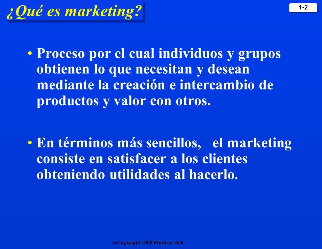 Copyright 1999 Prentice Hall 1-3 Conceptos centrales de marketing Productos y servicios Valor, satisfacción y calidad Necesidades, deseos y demandas Intercambio, relaciones y transacciones Mercados Conceptos centrales de marketing Conceptos centrales de marketing