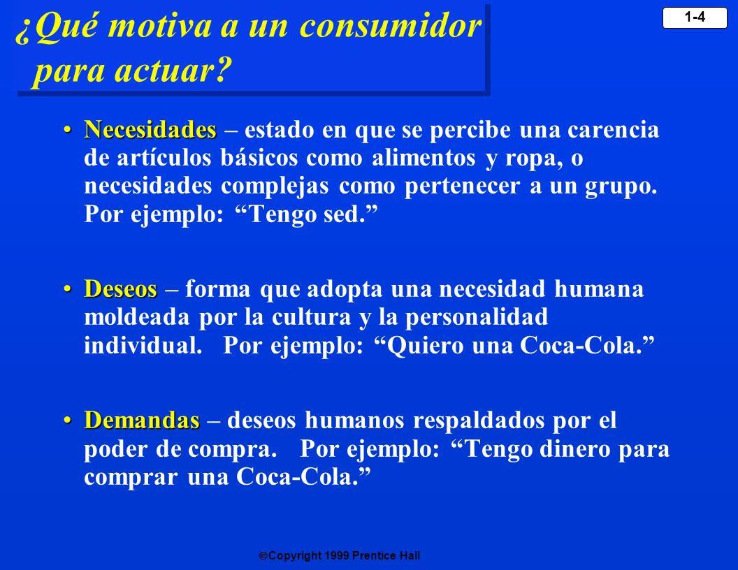 Copyright 1999 Prentice Hall 1-4 ¿Qué motiva a un consumidor para actuar? NecesidadesNecesidades – estado en que se percibe una carencia de artículos