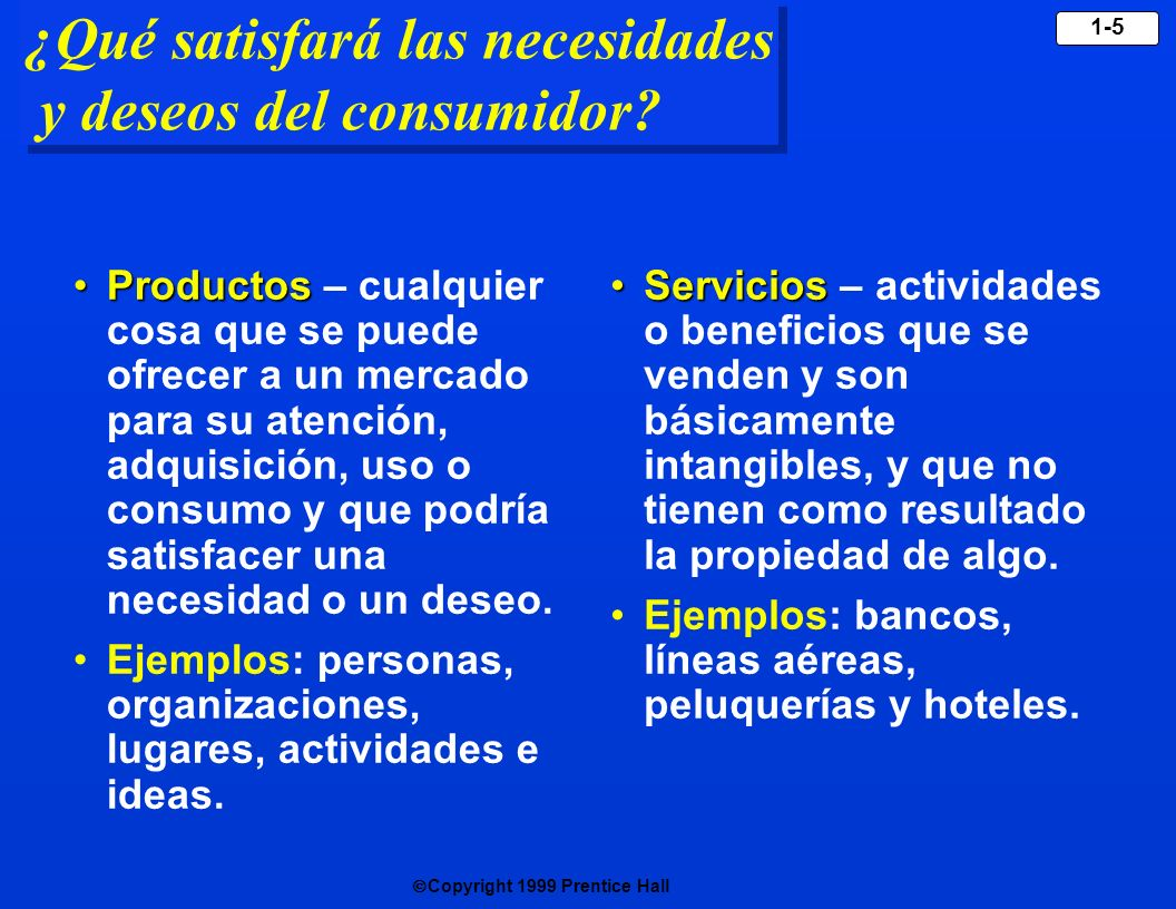 Copyright 1999 Prentice Hall 1-5 ¿Qué satisfará las necesidades y deseos del consumidor? ProductosProductos – cualquier cosa que se puede ofrecer a un