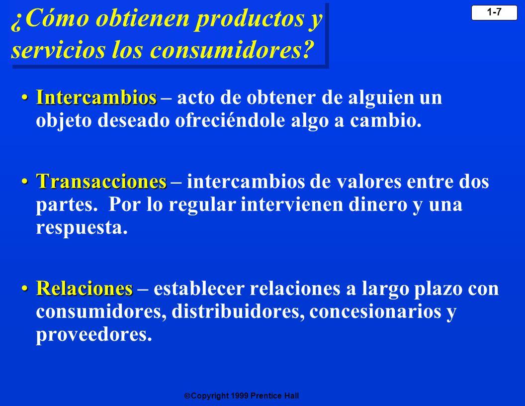 Copyright 1999 Prentice Hall 1-7 ¿Cómo obtienen productos y servicios los consumidores? IntercambiosIntercambios – acto de obtener de alguien un objet