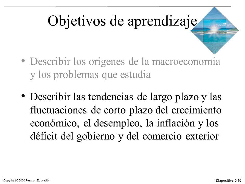 Diapositiva 5-10 Copyright © 2000 Pearson Educación Objetivos de aprendizaje Describir los orígenes de la macroeconomía y los problemas que estudia De