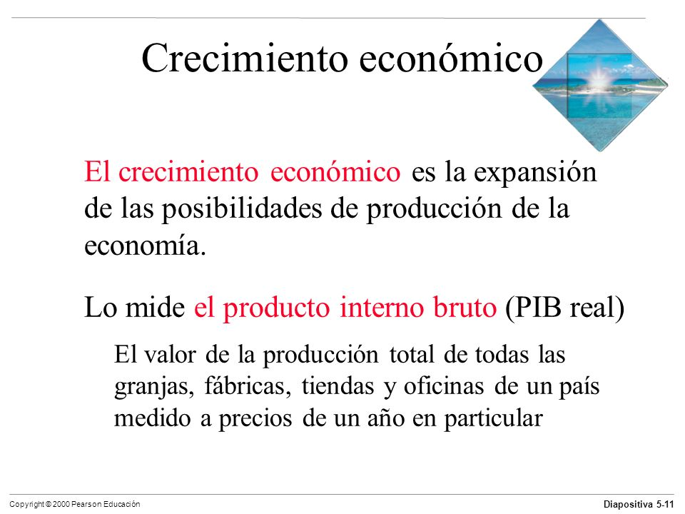 Diapositiva 5-11 Copyright © 2000 Pearson Educación Crecimiento económico El crecimiento económico es la expansión de las posibilidades de producción