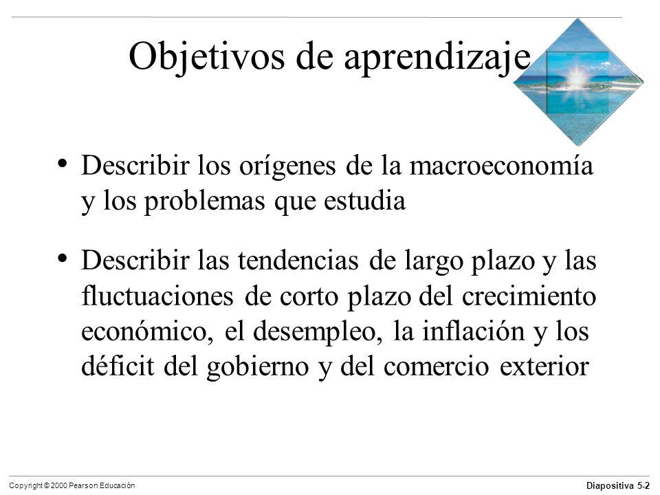Diapositiva 5-2 Copyright © 2000 Pearson Educación Objetivos de aprendizaje Describir los orígenes de la macroeconomía y los problemas que estudia Des