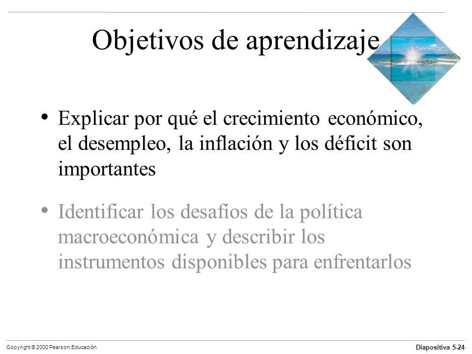 Diapositiva 5-24 Copyright © 2000 Pearson Educación Objetivos de aprendizaje Explicar por qué el crecimiento económico, el desempleo, la inflación y l