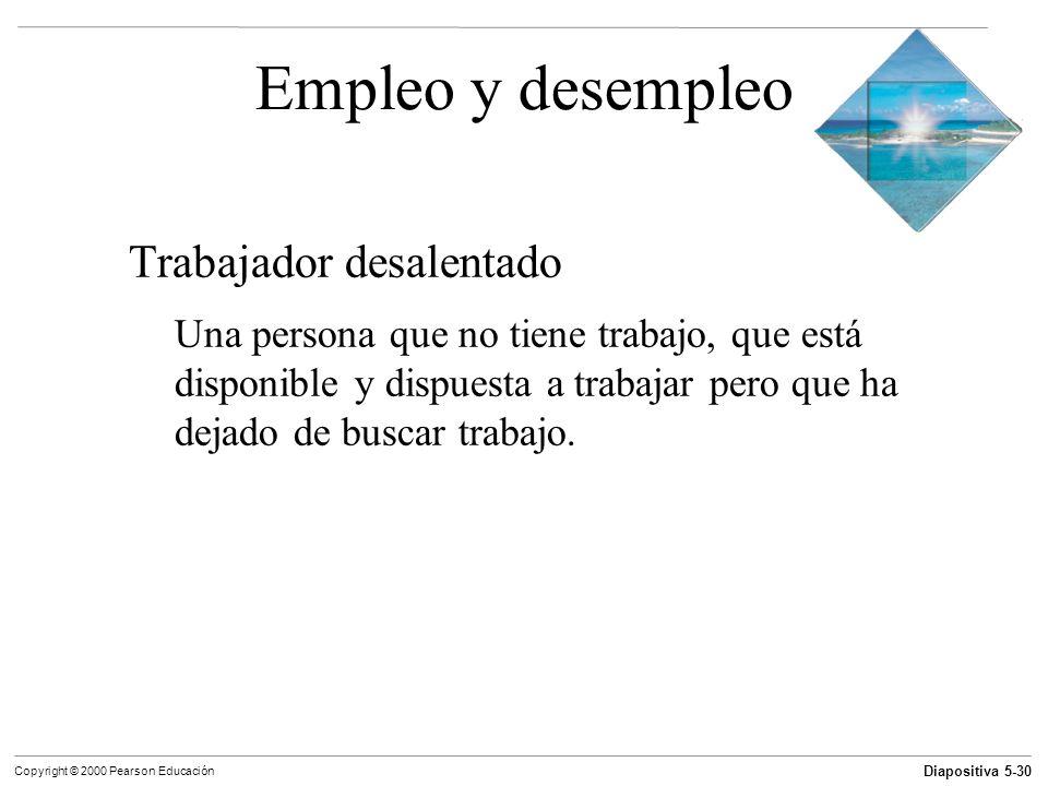 Diapositiva 5-30 Copyright © 2000 Pearson Educación Empleo y desempleo Trabajador desalentado Una persona que no tiene trabajo, que está disponible y