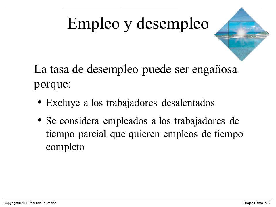 Diapositiva 5-31 Copyright © 2000 Pearson Educación Empleo y desempleo La tasa de desempleo puede ser engañosa porque: Excluye a los trabajadores desa