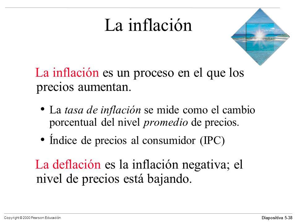Diapositiva 5-38 Copyright © 2000 Pearson Educación La inflación La inflación es un proceso en el que los precios aumentan. La tasa de inflación se mi