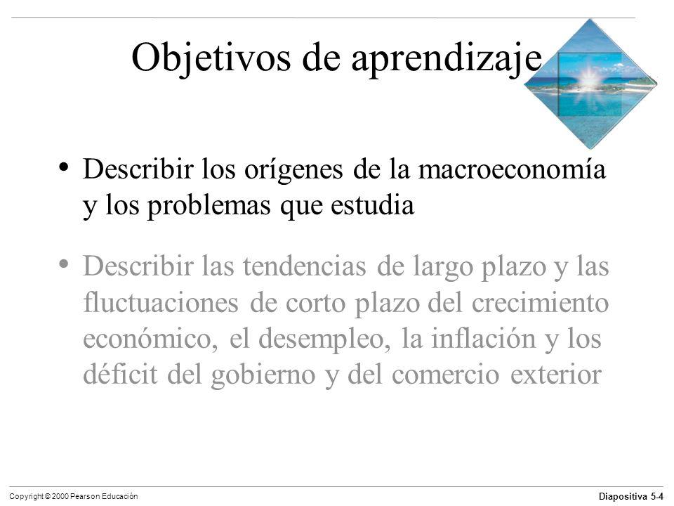 Diapositiva 5-4 Copyright © 2000 Pearson Educación Objetivos de aprendizaje Describir los orígenes de la macroeconomía y los problemas que estudia Des