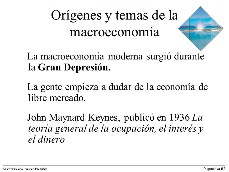 Diapositiva 5-6 Copyright © 2000 Pearson Educación Orígenes y temas de la macroeconomía Problemas macroeconómicos 1) Crecimiento económico 2) Desempleo 3) Inflación 4) Déficit