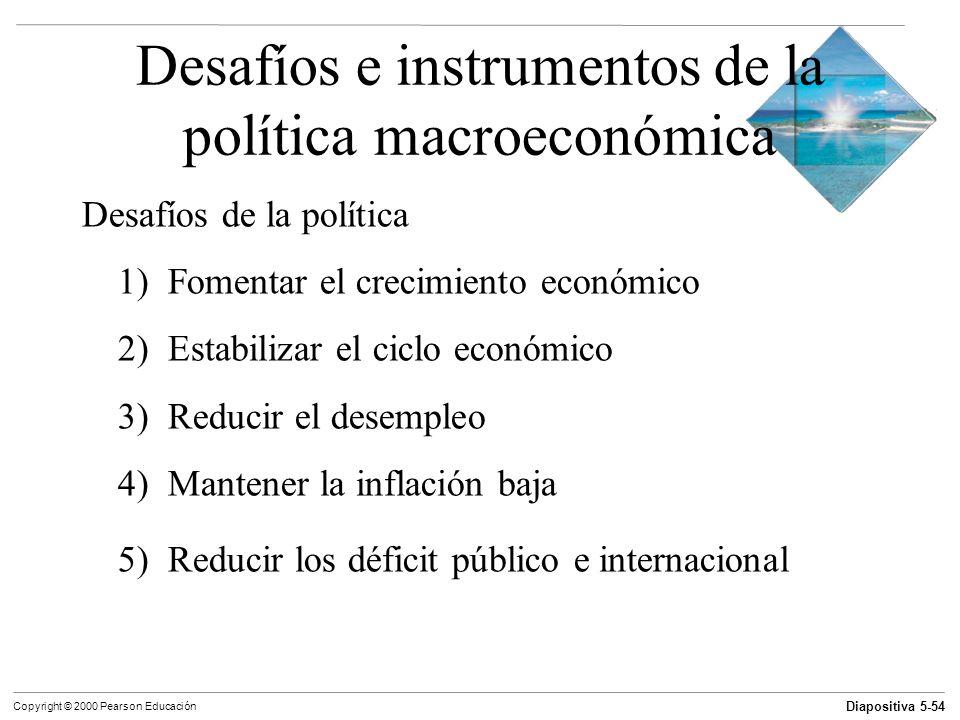 Diapositiva 5-54 Copyright © 2000 Pearson Educación Desafíos e instrumentos de la política macroeconómica Desafíos de la política 1) Fomentar el creci