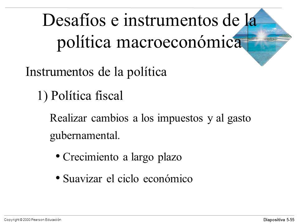 Diapositiva 5-55 Copyright © 2000 Pearson Educación Desafíos e instrumentos de la política macroeconómica Instrumentos de la política 1) Política fisc