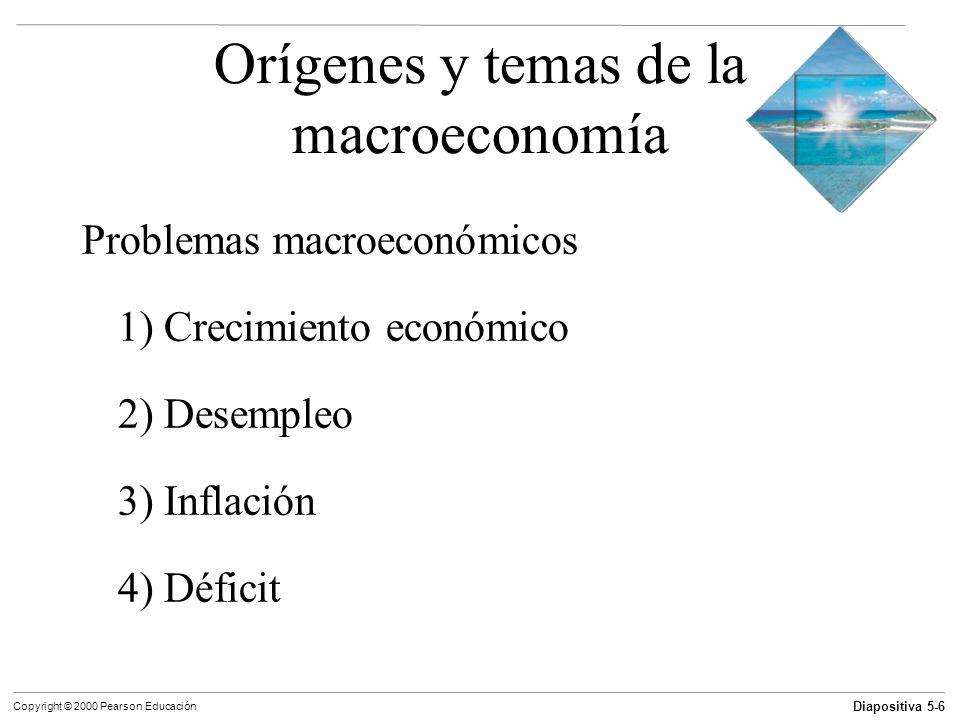 Diapositiva 5-6 Copyright © 2000 Pearson Educación Orígenes y temas de la macroeconomía Problemas macroeconómicos 1) Crecimiento económico 2) Desemple