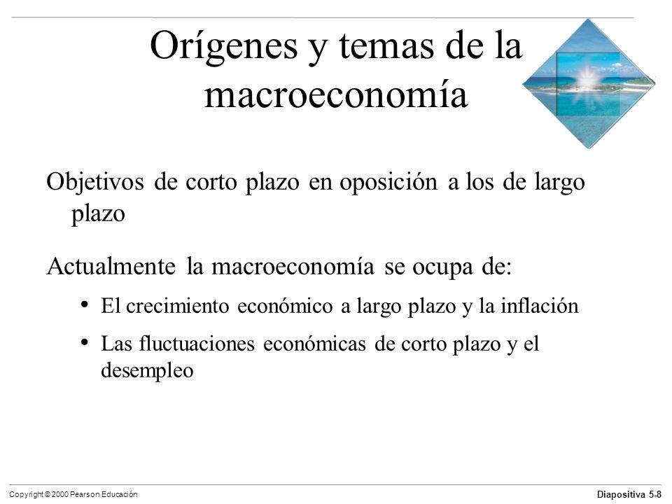 Diapositiva 5-9 Copyright © 2000 Pearson Educación Orígenes y temas de la macroeconomía El camino por delante El enfoque de la macroeconomía ha cambiado: Depresión Inflación de la década de los setenta Economía internacional de hoy en día