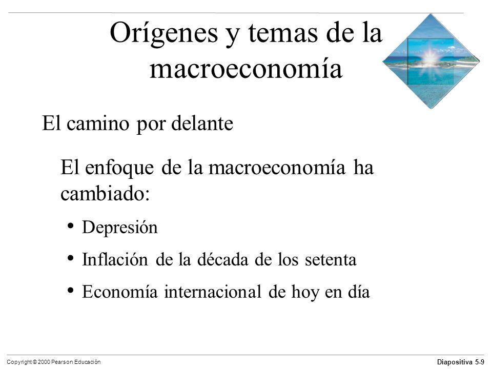 Diapositiva 5-10 Copyright © 2000 Pearson Educación Objetivos de aprendizaje Describir los orígenes de la macroeconomía y los problemas que estudia Describir las tendencias de largo plazo y las fluctuaciones de corto plazo del crecimiento económico, el desempleo, la inflación y los déficit del gobierno y del comercio exterior