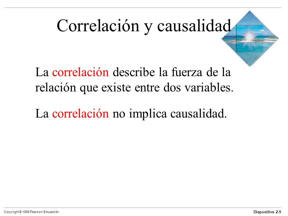 Diapositiva 2-9 Copyright © 1998 Pearson Educación Correlación y causalidad La correlación describe la fuerza de la relación que existe entre dos vari