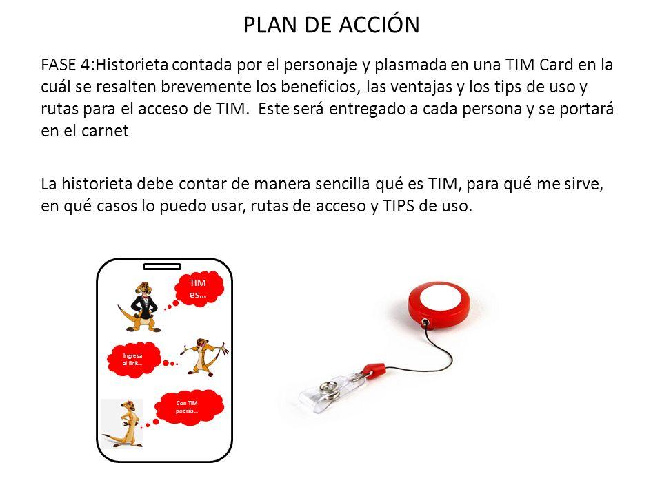 FASE 4:Historieta contada por el personaje y plasmada en una TIM Card en la cuál se resalten brevemente los beneficios, las ventajas y los tips de uso