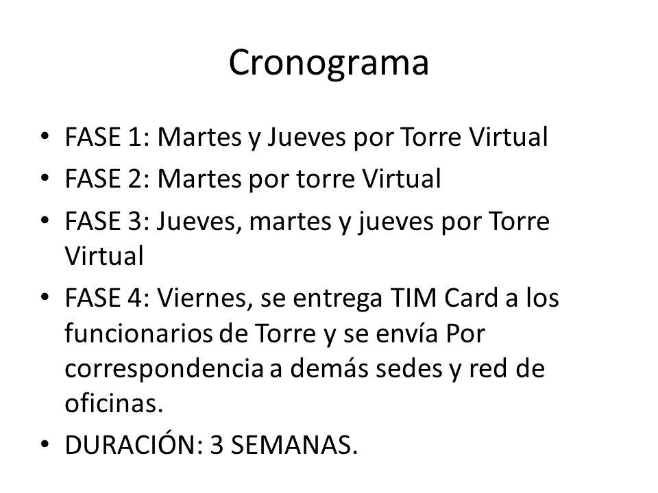 Cronograma FASE 1: Martes y Jueves por Torre Virtual FASE 2: Martes por torre Virtual FASE 3: Jueves, martes y jueves por Torre Virtual FASE 4: Vierne