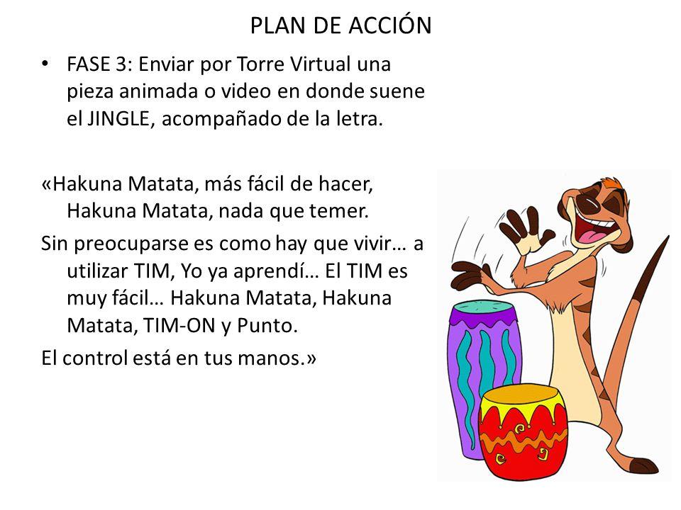 FASE 3: Enviar por Torre Virtual una pieza animada o video en donde suene el JINGLE, acompañado de la letra. «Hakuna Matata, más fácil de hacer, Hakun