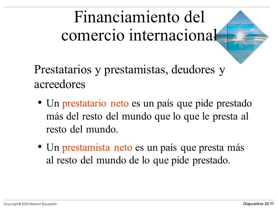 Diapositiva 20-11 Copyright © 2000 Pearson Educación Prestatarios y prestamistas, deudores y acreedores Un prestatario neto es un país que pide presta