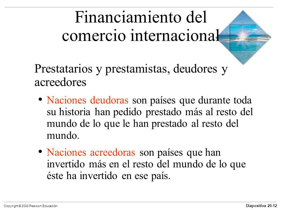 Diapositiva 20-12 Copyright © 2000 Pearson Educación Prestatarios y prestamistas, deudores y acreedores Naciones deudoras son países que durante toda