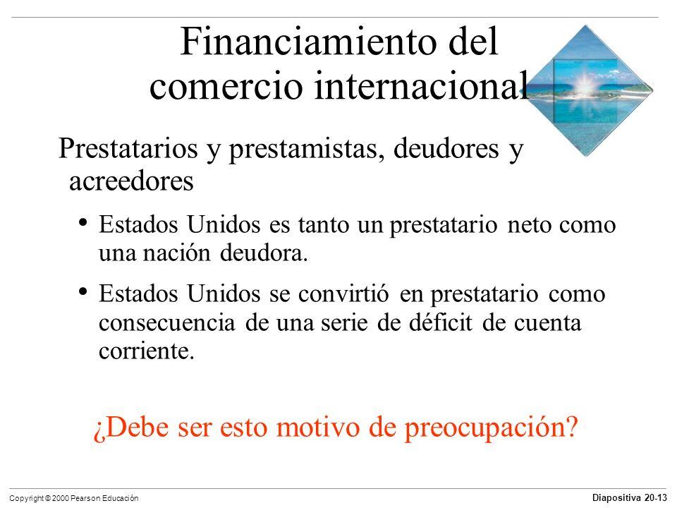 Diapositiva 20-13 Copyright © 2000 Pearson Educación Prestatarios y prestamistas, deudores y acreedores Estados Unidos es tanto un prestatario neto co