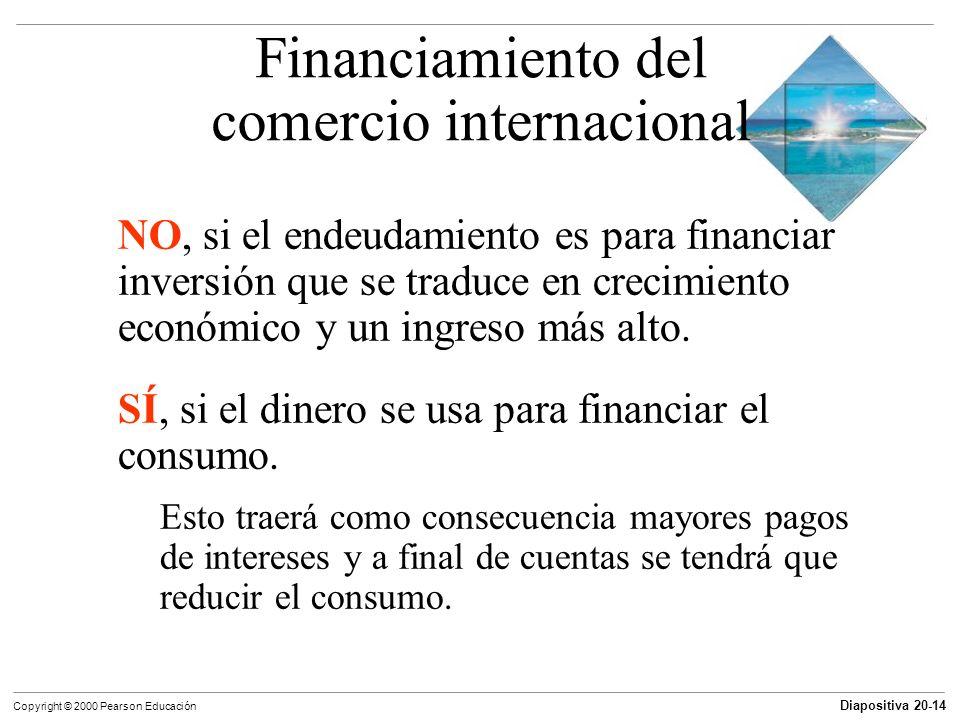 Diapositiva 20-14 Copyright © 2000 Pearson Educación NO, si el endeudamiento es para financiar inversión que se traduce en crecimiento económico y un
