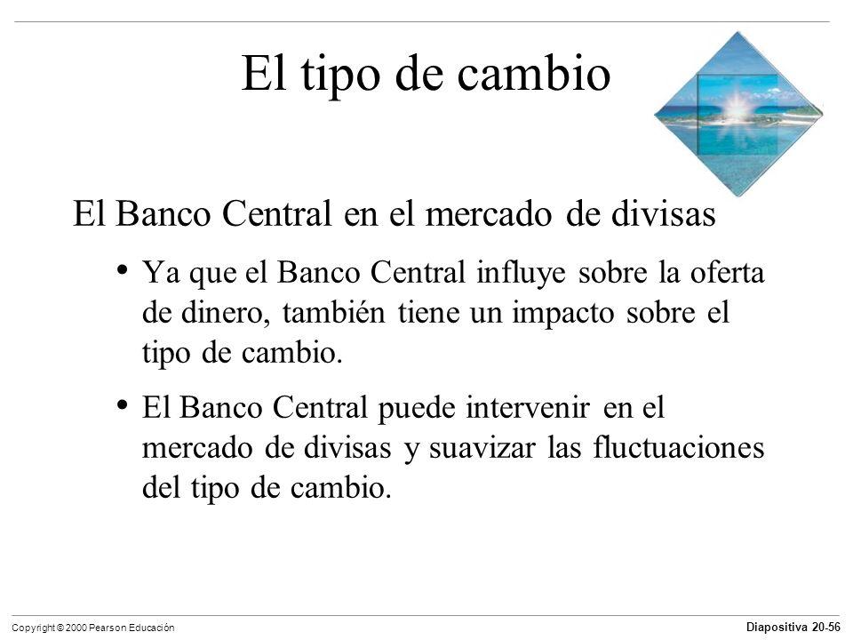 Diapositiva 20-56 Copyright © 2000 Pearson Educación El tipo de cambio El Banco Central en el mercado de divisas Ya que el Banco Central influye sobre