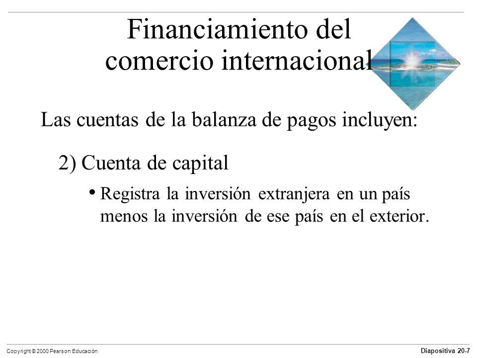 Diapositiva 20-7 Copyright © 2000 Pearson Educación Las cuentas de la balanza de pagos incluyen: 2) Cuenta de capital Registra la inversión extranjera