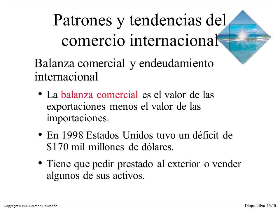 Diapositiva 19-11 Copyright © 1998 Pearson Educación Objetivos de aprendizaje Describir los patrones del comercio internacional Explicar la ventaja comparativa y explicar por qué todos los países pueden ganar con el comercio internacional Explicar cómo las economías de escala y diversidad de gustos conducen a ganancias del comercio
