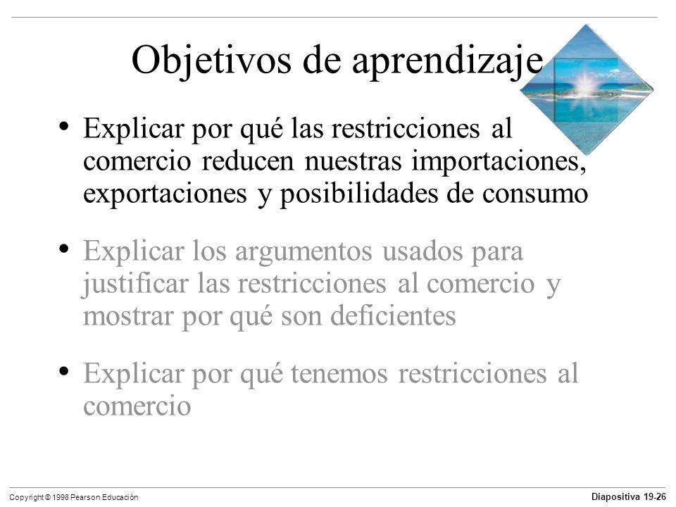 Diapositiva 19-27 Copyright © 1998 Pearson Educación Restricciones al comercio Los aranceles son impuestos establecido por un país importador cuando un bien importado cruza sus fronteras.