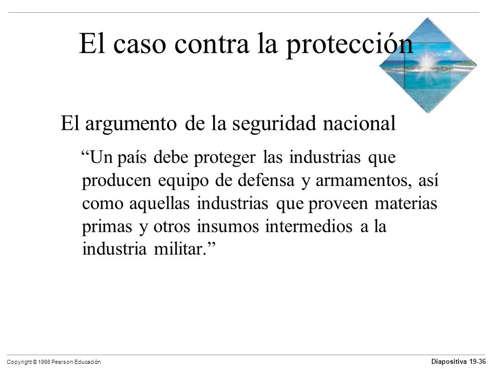 Diapositiva 19-37 Copyright © 1998 Pearson Educación El caso contra la protección El argumento de la seguridad nacional Este argumento es falso porque: En tiempos de guerra, todas las industrias contribuyen a la defensa nacional.