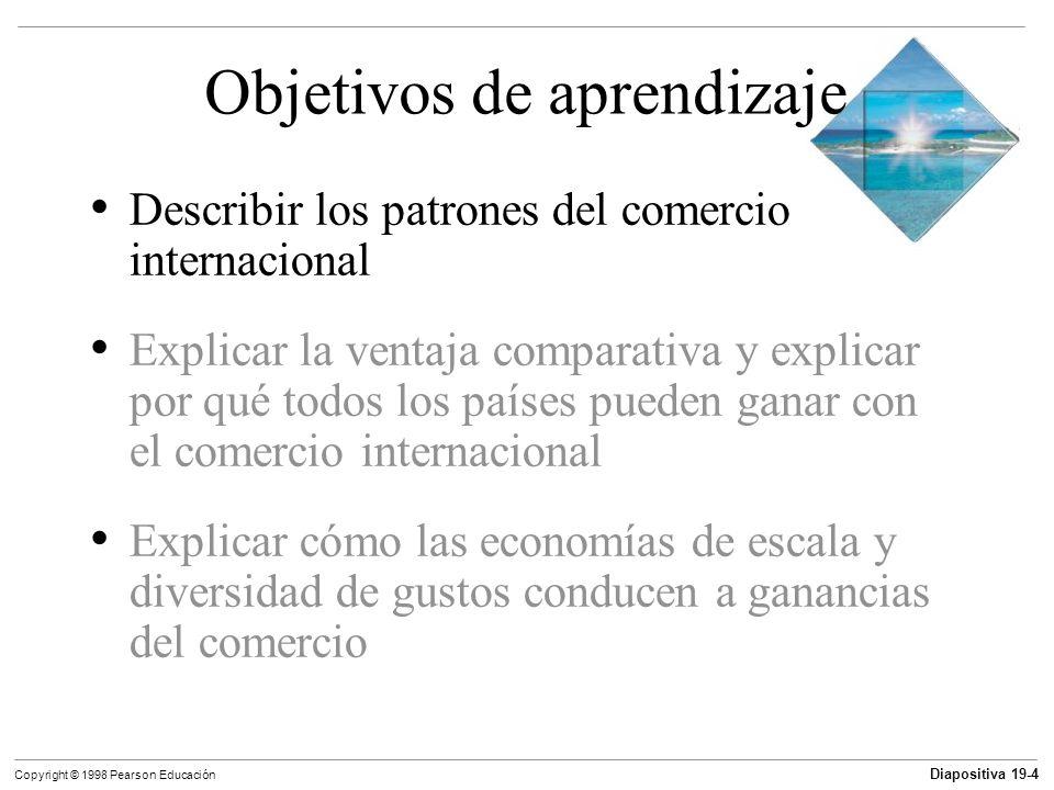 Diapositiva 19-5 Copyright © 1998 Pearson Educación Patrones y tendencias del comercio internacional Las importaciones son los bienes y servicios que compramos a la gente de otros países.