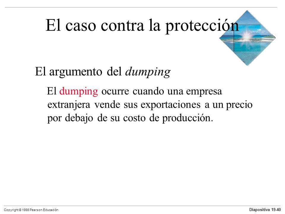 Diapositiva 19-41 Copyright © 1998 Pearson Educación El caso contra la protección El argumento del dumping El argumento del dumping debe resistirse porque: El dumping es prácticamente imposible de detectar.