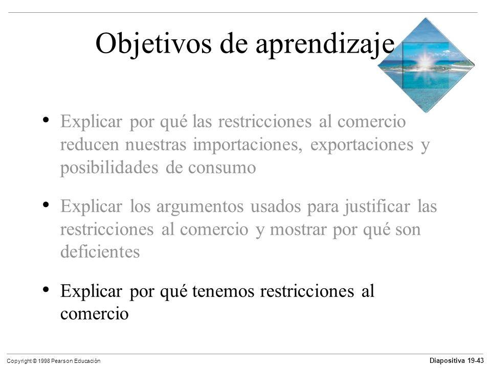 Diapositiva 19-44 Copyright © 1998 Pearson Educación ¿Por qué se restringe el comercio internacional.