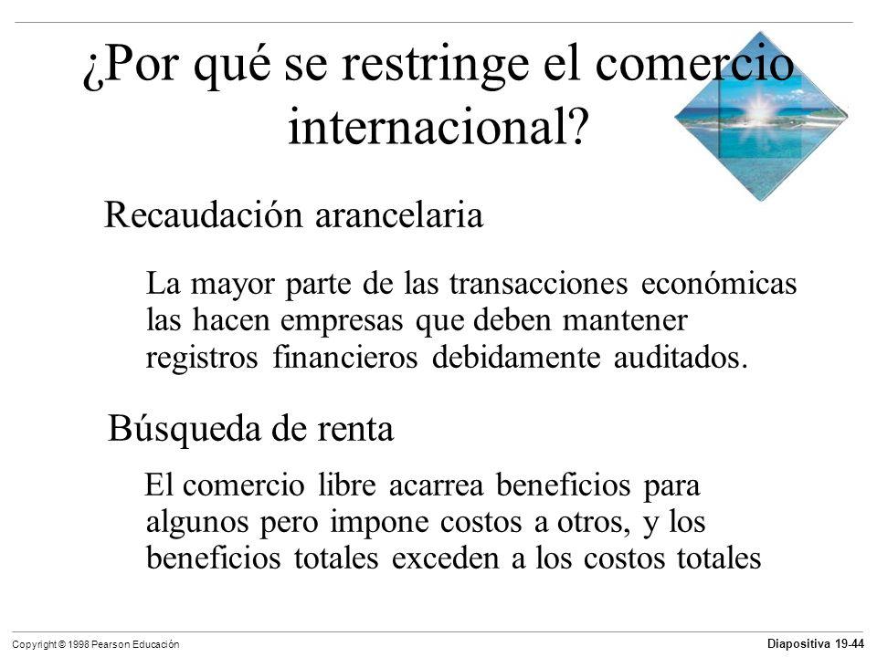 Diapositiva 19-45 Copyright © 1998 Pearson Educación ¿Por qué se restringe el comercio internacional.