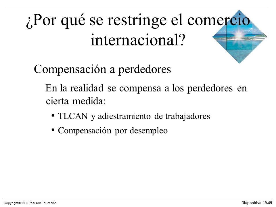 Diapositiva 19-46 Copyright © 1998 Pearson Educación ¿Por qué se restringe el comercio internacional.