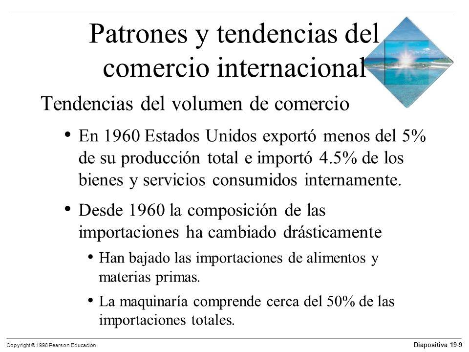 Diapositiva 19-10 Copyright © 1998 Pearson Educación Patrones y tendencias del comercio internacional Balanza comercial y endeudamiento internacional La balanza comercial es el valor de las exportaciones menos el valor de las importaciones.