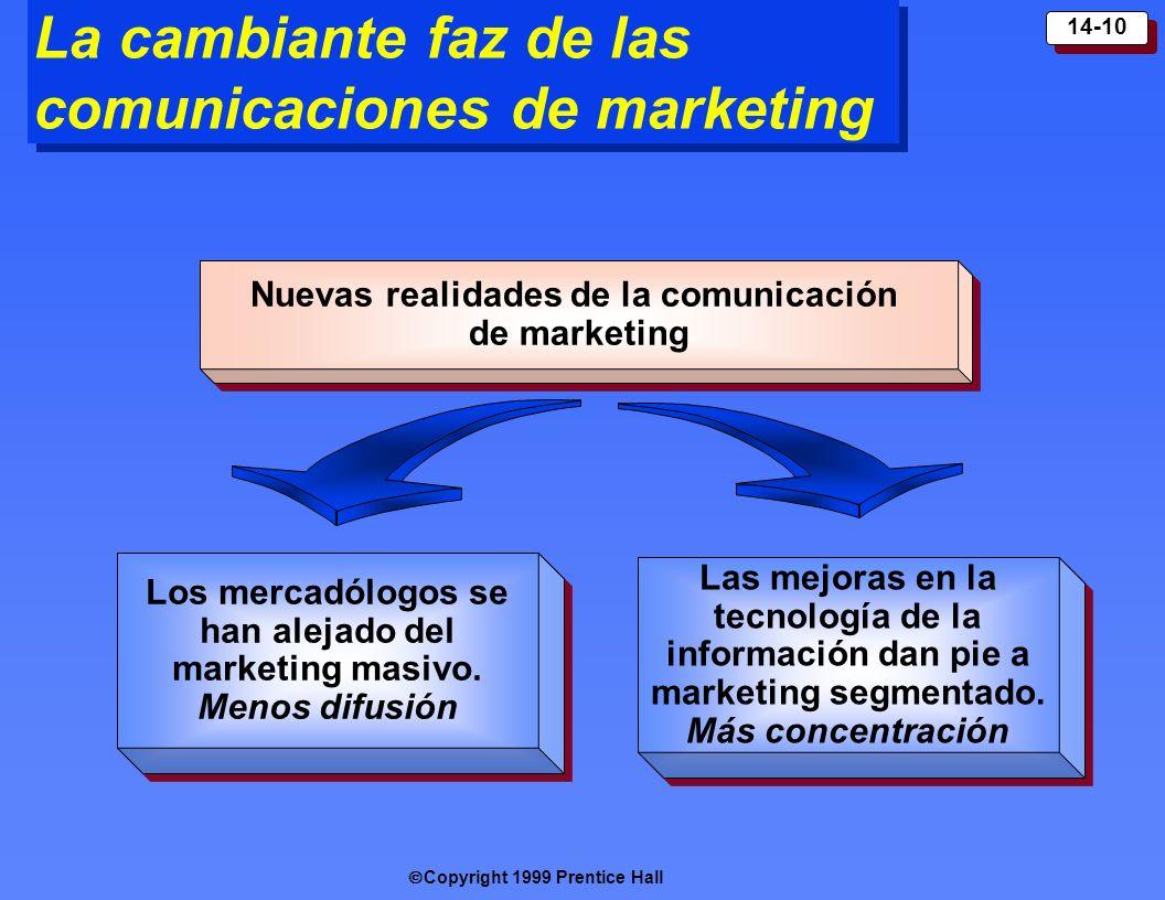 Copyright 1999 Prentice Hall 14-10 La cambiante faz de las comunicaciones de marketing Los mercadólogos se han alejado del marketing masivo. Menos dif