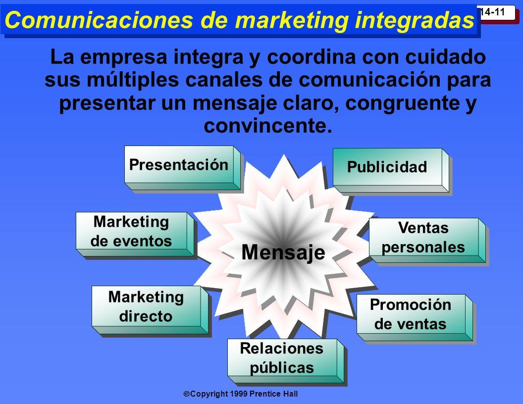 Copyright 1999 Prentice Hall 14-11 Comunicaciones de marketing integradas La empresa integra y coordina con cuidado sus múltiples canales de comunicac