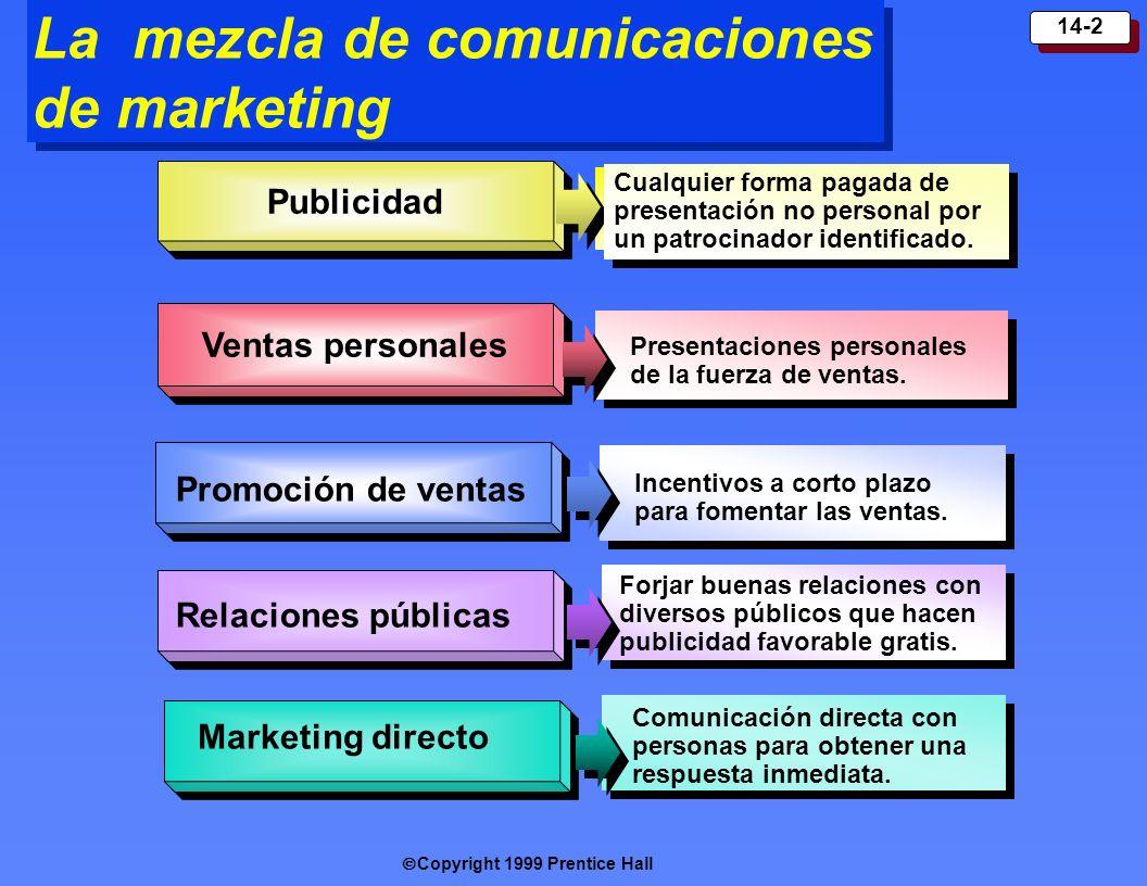 Copyright 1999 Prentice Hall 14-2 La mezcla de comunicaciones de marketing Publicidad Ventas p ersonal es Cualquier forma pagada de presentación no pe