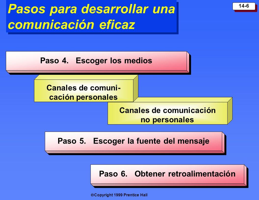 Copyright 1999 Prentice Hall 14-6 Canales de comunicación no personales Pasos para desarrollar una comunicación eficaz Paso 4. Escoger los medios Cana