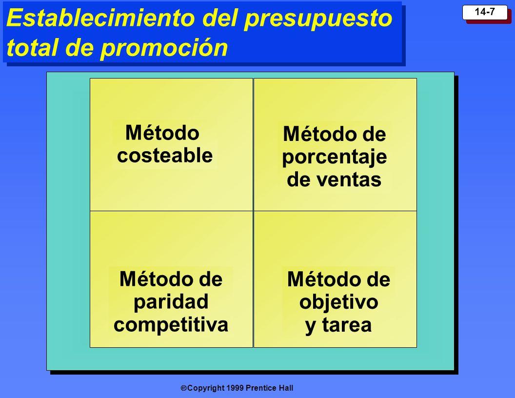 Copyright 1999 Prentice Hall 14-7 Método de porcentaje de ventas Método costeable Método de paridad competitiva Método de objetivo y tarea Establecimi
