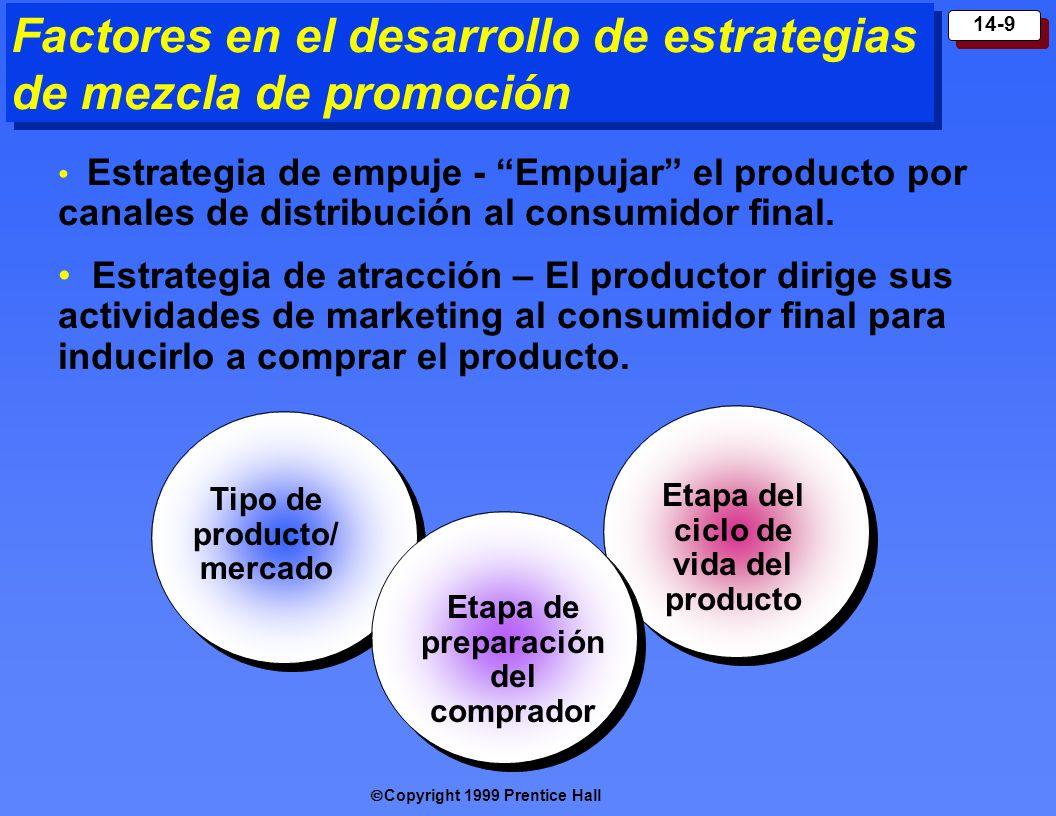Copyright 1999 Prentice Hall 14-9 Factores en el desarrollo de estrategias de mezcla de promoción Estrategia de empuje - Empujar el producto por canal