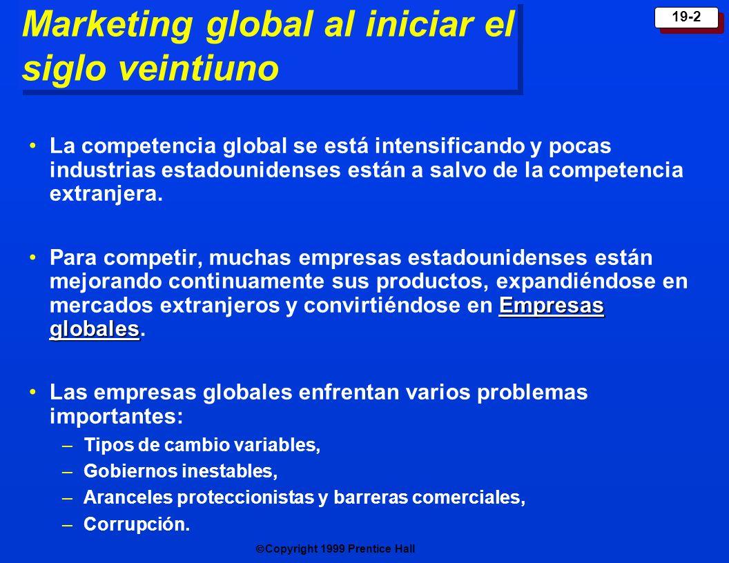 Copyright 1999 Prentice Hall 19-2 Marketing global al iniciar el siglo veintiuno La competencia global se está intensificando y pocas industrias estad