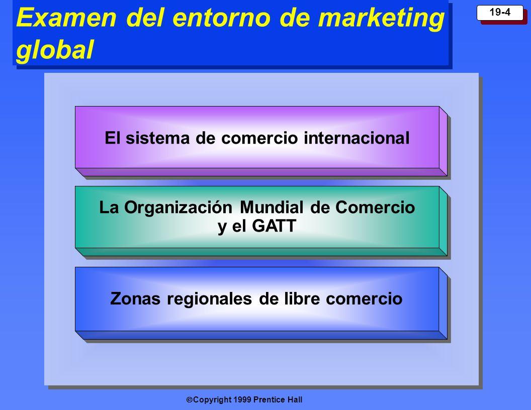 Copyright 1999 Prentice Hall 19-4 Examen del entorno de marketing global El sistema de comercio internacional La Organización Mundial de Comercio y el