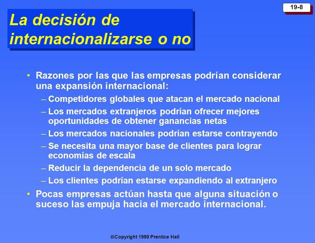 Copyright 1999 Prentice Hall 19-8 La decisión de internacionalizarse o no Razones por las que las empresas podrían considerar una expansión internacio